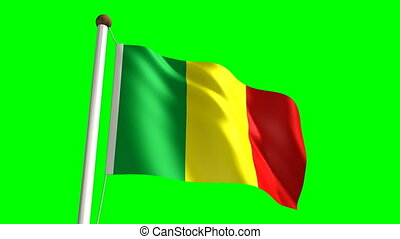 Mali flag (seamless & green screen)