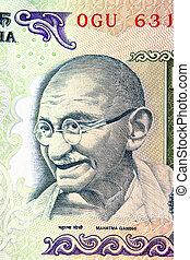 nota, rupia,  Gandhi