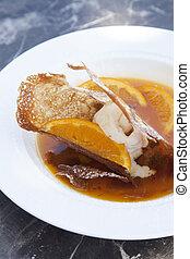 Crape with orange sorbet