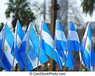 Patriotism argentinean flags - Group of small argentinean...