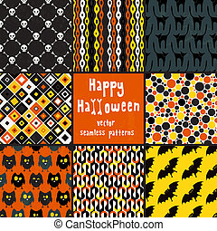 Collection of halloween seamless patterns - Collection of...