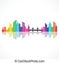 abstract colorful building design w - Illustration of...