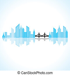 abstract blue building design with - Illustration of...