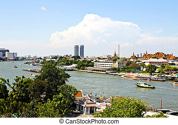 View of the Chao Praya River in Bangkok, taken from the top of Wat Arun