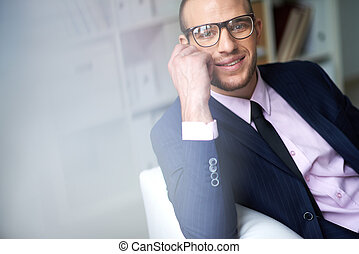 Businessman in eyeglasses - Portrait of attractive male in...
