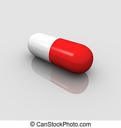 Pill - Red and white pill. 3d rendered image