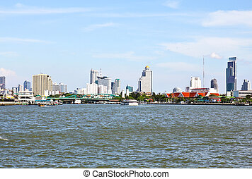 Thailand, Bangkok, view of the Chao Praya river and the...