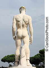 Virile statue - Rear side of a virile statue in the Marble...