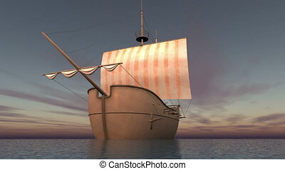 sailing boat goes on a voyage