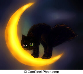 Black cat and moon - Cute black cat on crescent moon over...