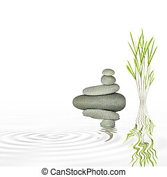 Zen Water Garden - Spa massage treatment stones in perfect...