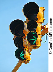 Go both ways on the traffic light - Traffic light indicating...