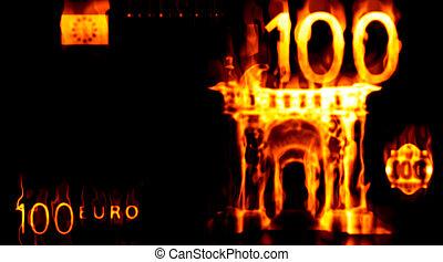 Burning 100 euro - Abstract background with burning money,...