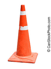 Old Traffic cone isolated on white
