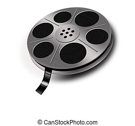 Film reel - Old film reel with film on white background