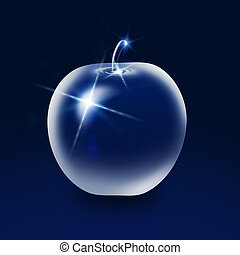 Glass apple on blue background - Dark blue background with...