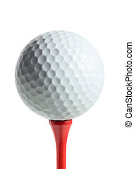 Golf ball on a tee isolated on white background