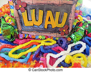 Hawaiian party favors - Plastic leis and a luau sign for a...