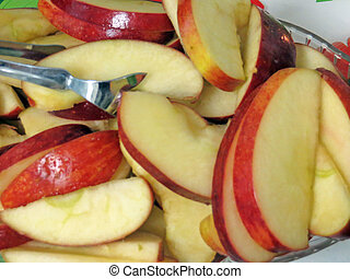 Apple - Red apple cut in thin slices...
