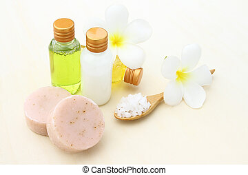 Body care products,sea salt,soap,shampoo,lotion and Plumeria...