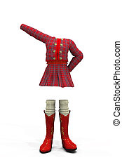 School uniform - 3d digitally rendered image of red plaid...