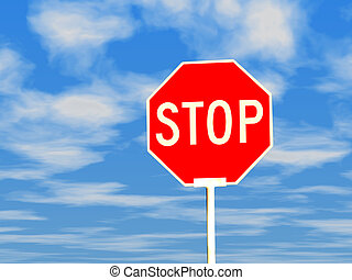 Stop sign against blue sky - 3d stop sign against blue sky...