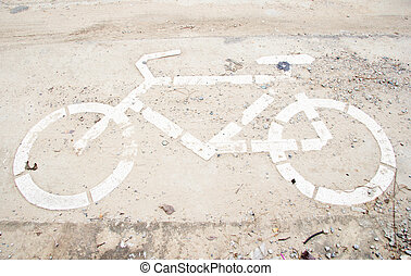 Sign for bicycle on the road