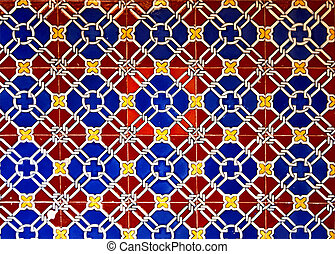 Old glazed ceramic tiles Italian style - Artistic pattern of...