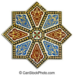 Vintage pattern made by wall tiles - Ancient wall tile...