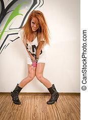 Cool hip-hop dancer - Cool female redhair hip-hop dancer at...