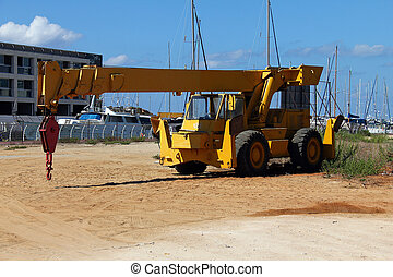 Heavy mobile crane truck - Yellow heavy mobile crane truck