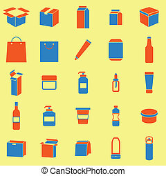 Packaging color icons on yellow background