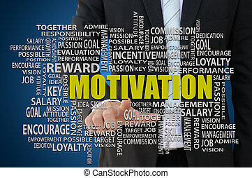 Business Motivation Concept - Businessman pointing key word...