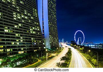 contorno singapur noche