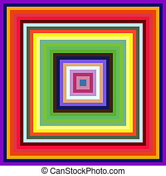 Decreasing size colorful square frames abstract background