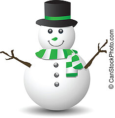 Snowman with green and white scarf on white background