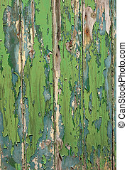 Green and blue color peeling paint texture wooden fence.