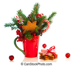 Christmas decoration with cookies  in cup