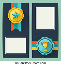 Certificate templates with trophies and awards.