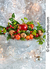 Christmas arrangement - Christmas table decoration with...