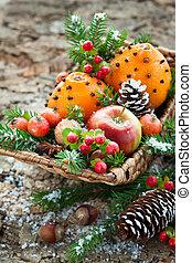 Christmas fruit basket - Christmas basket with fruits,...
