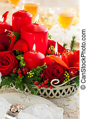 Festive Christmas table - Christmas table decoration with...