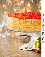 Strawberry cake - cake with cream and strawberry for holiday
