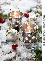 Christmas Decorations with candles in small pails