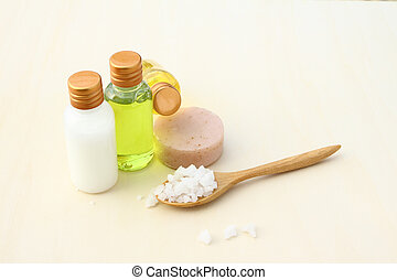 Body care products,sea salt,soap,shampoo,lotion
