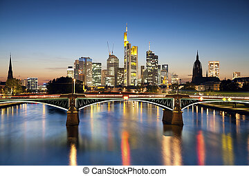 Frankfurt am Main - Image of Frankfurt skyline during sunset...