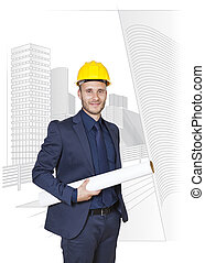 businessman engineer on a white background