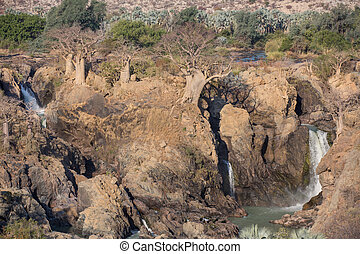 Epupa waterfalls closeup - Closeup view of Epupa waterfalls...