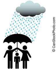 Symbol people family safe under umbrella cloud and rain - A...