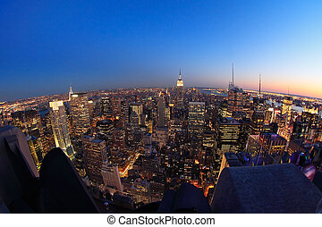 Lower Manhattan at dusk - Fish-eye view of Lower Manhattan...